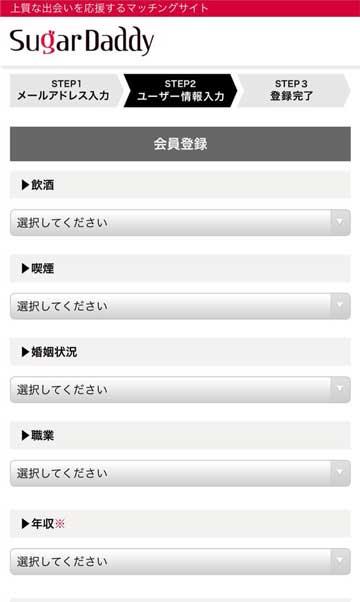 シュガーダディ会員登録[飲酒・喫煙・婚姻状況・職業・年収]画面
