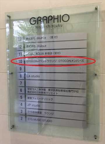 オトコン新宿イベントラウンジの会場はビルの10階