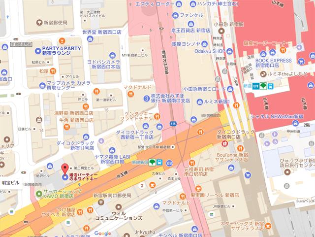 ホワイトキー新宿会場までの地図