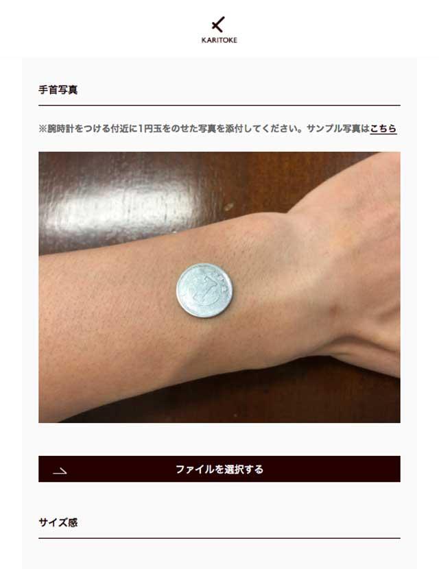 カリトケ(karitoke)公式サイトに1円玉を乗せた手首写真をアップロードした後の画面