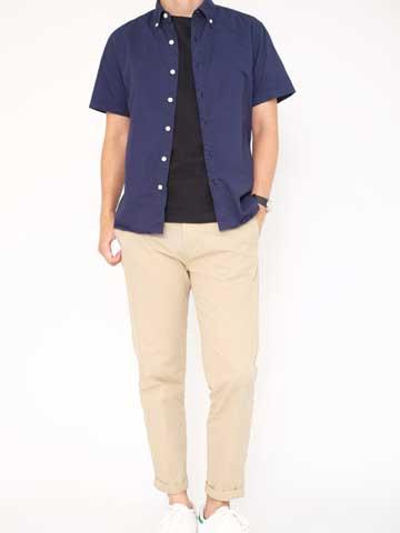 「leeap(リープ)」カジュアルプランの夏服シャツスタイルのコーデ例の写真