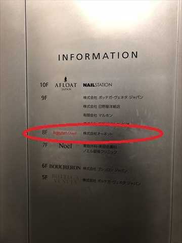 銀座マロニエビルのフロアインフォメーションの写真