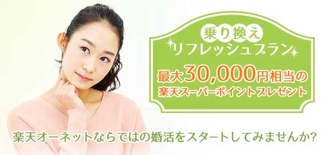 楽天オーネットの乗り換えリフレッシュプランで最大3万円相当の楽天スーパーポイントプレゼントの紹介画像