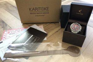 カリトケ(karitoke)でOMEGA(オメガ)のスピードマスターシューマッハモデルの腕時計レンタルした内容物一式の写真