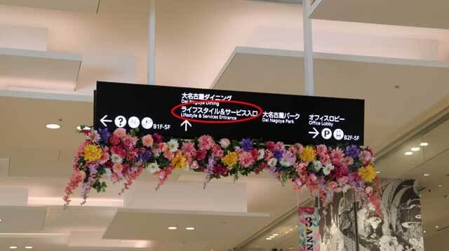 大名古屋ビルヂングのライフスタイル&サービス入口の案内板写真