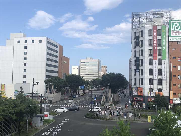 JR仙台駅の東口側の街の景色