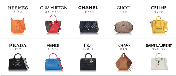 ラクサスの取り扱っている主な10ブランドのバッグとブランド名の紹介画像