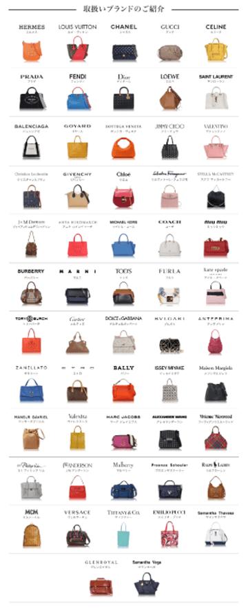 ラクサスで取り扱いのある57ブランドのロゴと代表するバッグの一覧写真