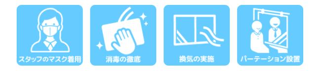 PARTY☆PARTYの新型コロナウイルス感染症対策紹介イメージ